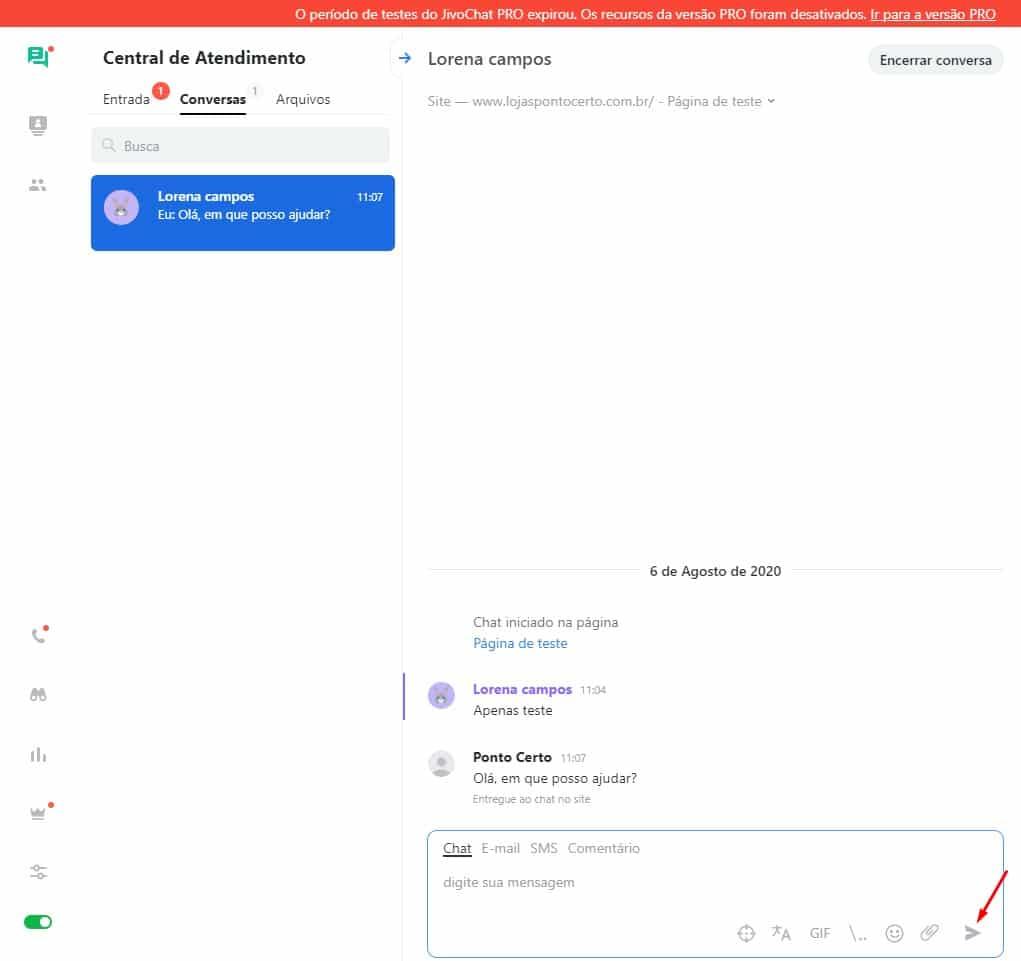 JivoChat - painel de conversas